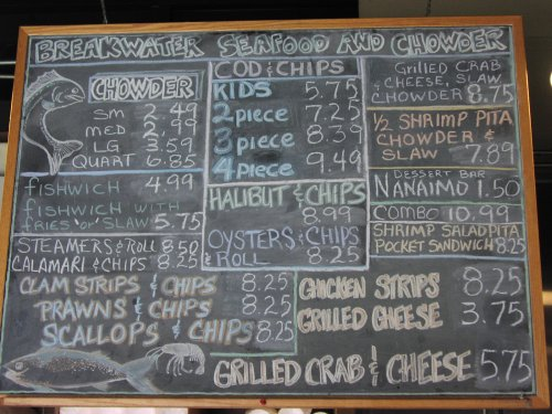 Menu-board at Breakwater's